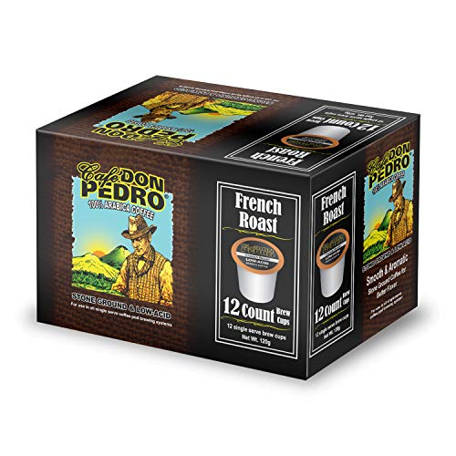 Cafe Don Pedro - 72 ct. French Roast Low Acid Coffee 72 Ct. - Compatible with Keurig 2.0 K-cup Brewers , 100% Arabica , Single Serve , Battles Heartburn Acidic Reflux, Healthy Gourmet Capsule Pod