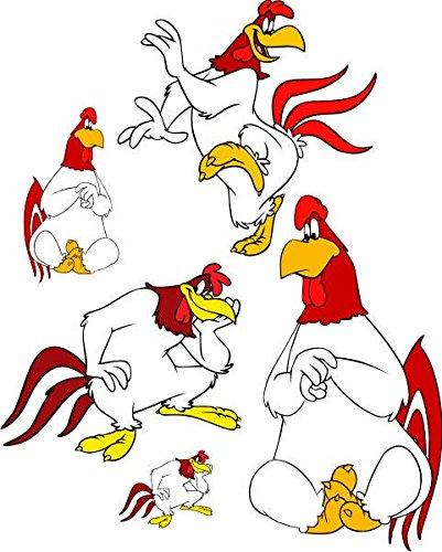 Wandtattoo/Aufkleber be27- A4-Bogen - verschiedene lustige Aufkleber für Kinder auf einem A4-Bogen lustiges animiertes Huhn