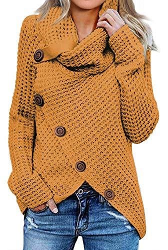 Asvivid Winter Fall Chunky Cowl Neck Womens Sweater Slouchy Solid Button Wrap Pullover Comfy Cable Knit Yellow Sweater Tops M