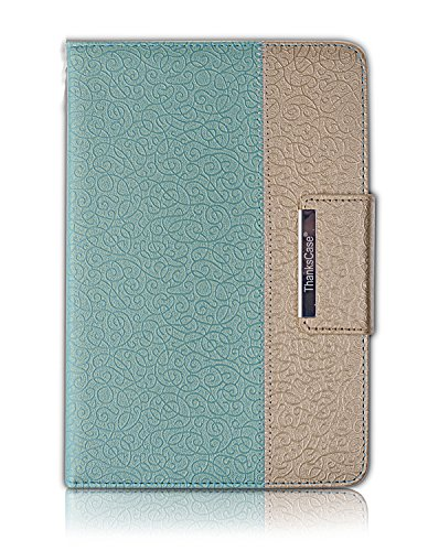 Thankscase Smart Rotating Case for Samsung Galaxy Tab A 8.0 2015 Release (Not Fit 2017 2018 2019 Release) Build-in Wallet Hand Strap with Smart Cover for Tab A 8.0 (Gold Jade)