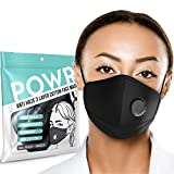 Face Mask | Unisex - Ultimate Comfort - 100% Cotton Face Covering - Washable and Re-usable, with Adjustable Ear Straps and Nose Clip - Breathable Valve Plus 3 X Replaceable PM 2.5 Carbon Filters