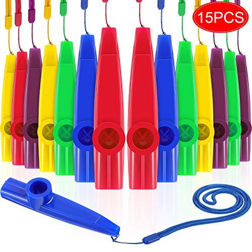 15 Stück Plastik Kazoo mit Lanyard Verschiedene Farben Party Kazoo Musikinstrument mit Kazoo Flöten Membranen für Geschenk Preis und Partyartikel