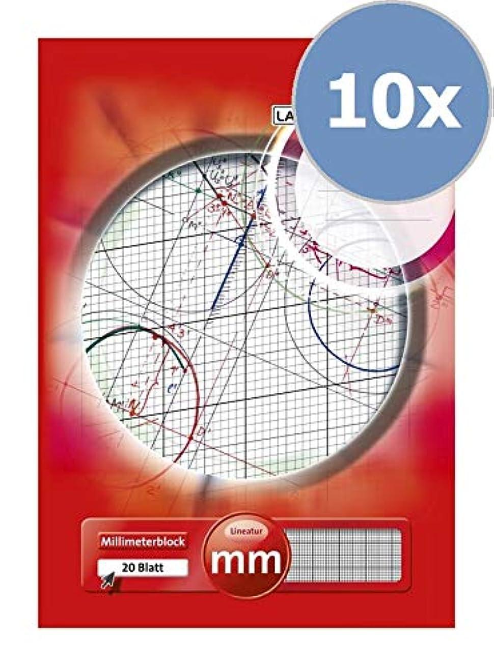 LANDRE 100050433 Millimetre Pad A3 80 g/m2 Millimetre Paper 20 Sheets Glued Line Colour Red Geometry