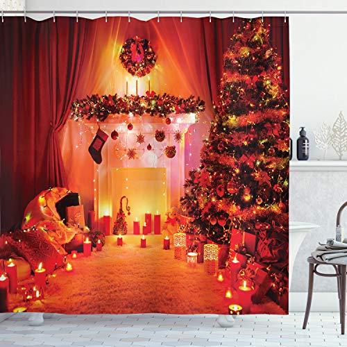 ABAKUHAUS Weihnachten Duschvorhang, Noel New Years Theme, Bakterie Schimmel Resistent inkl. 12 Haken Waschbar Stielvoller Digitaldruck, 175 x 200 cm, Orange