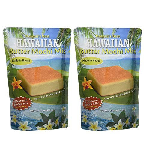 Hawaii's Best Butter Mochi Two Pack (15 oz each) - Easy to Make Traditional Hawaiian Style Butter Mochi Cake Mix - Gluten Free Dessert Mix - Two Pack Mochi Mix
