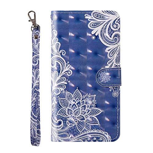Nokia 2.4 Hülle, 3D Painted Stoßdämpfung Soft PU Leder Notebook Handyhülle mit Kickstand Magnetkarte Halter Slim Flip Schutzhülle für Nokia 2.4 White Lace