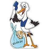 Großer Storch mit Baby › Ich bin da! › Inkl. Stab aus Holz › Geschenk zum Stecken für Innen und Außen › Klapperstorch Geburtsgeschenk › Wetterfest (Junge)