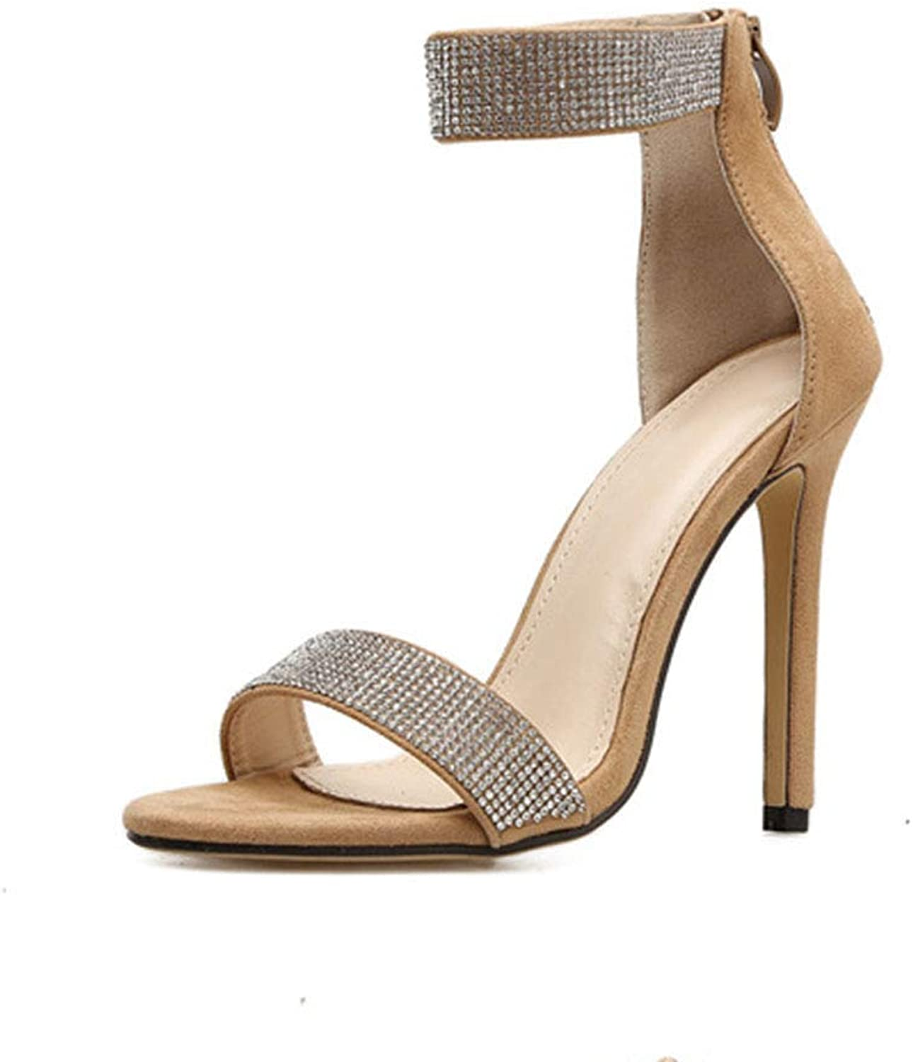 XDLEX Women Glittery Rhinestone Strappy Heeled Sandals Stiletto Suede Ankle Crystal Strap One Strap Pumps Open Toe Wrap-Around Strap Cutout Jewel shoes