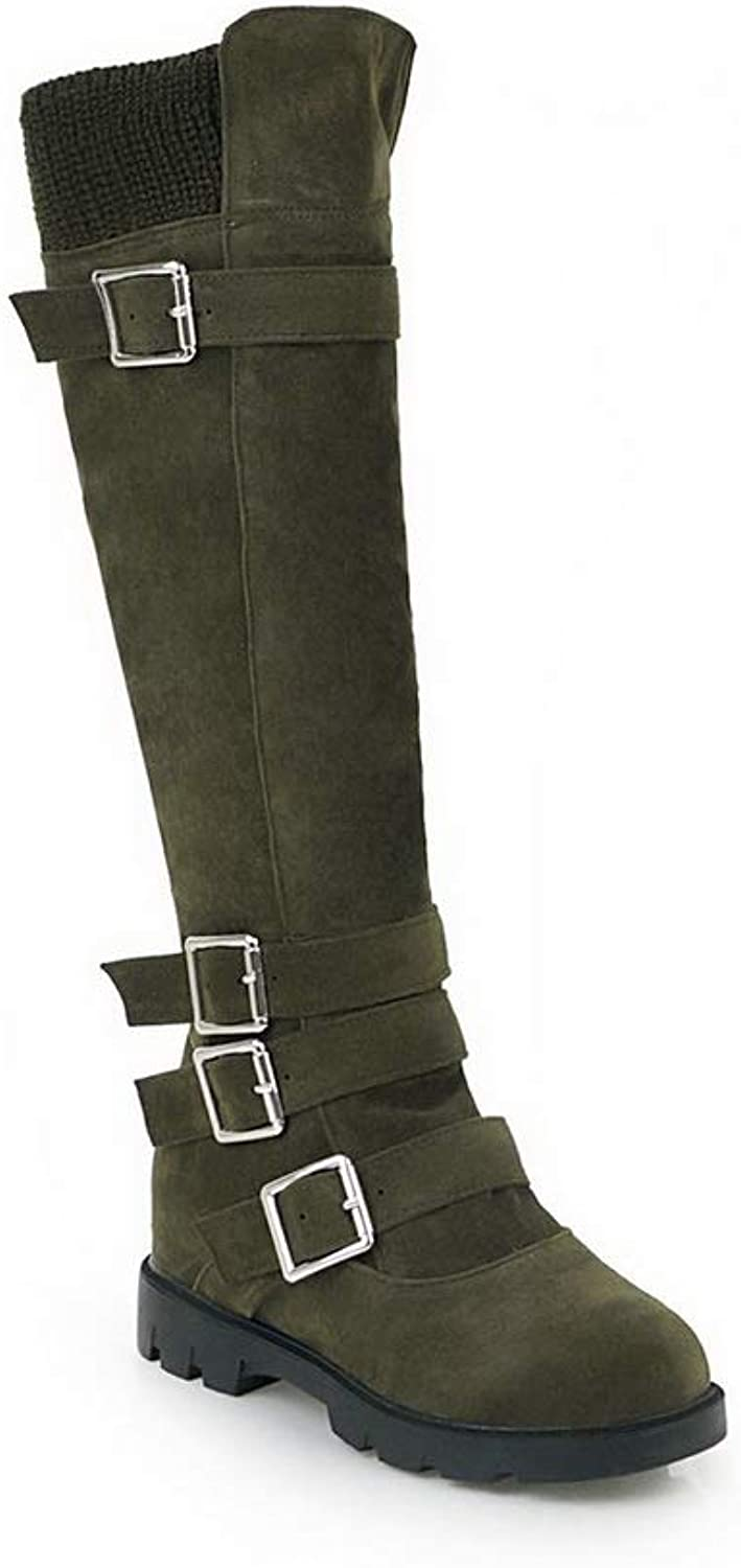 AdeeSu Womens Metal Buckles Zipper Imitated Suede Boots SXC03128