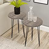 Set of 2 END Table - PAK Home Round Wood Sofa Side Tables for Small Spaces, Nightstand Bedside Table with Metal Legs for Bedroom, Living Room, Office, Balcony - Sturdy & Easy Assembly (GRAY PINE WOOD)