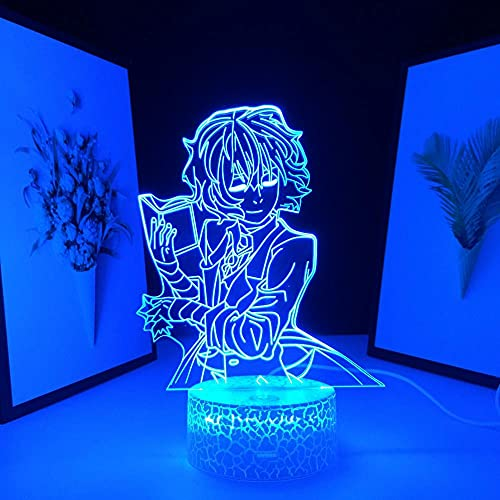 3D Luz noturna Led Mesa Ilusão Lâmpada Base de rachadura Bungo Cães Figura perdida Anime Dazai Osamu Quarto Aniversário Manga -16 Cor Com Controle Remoto