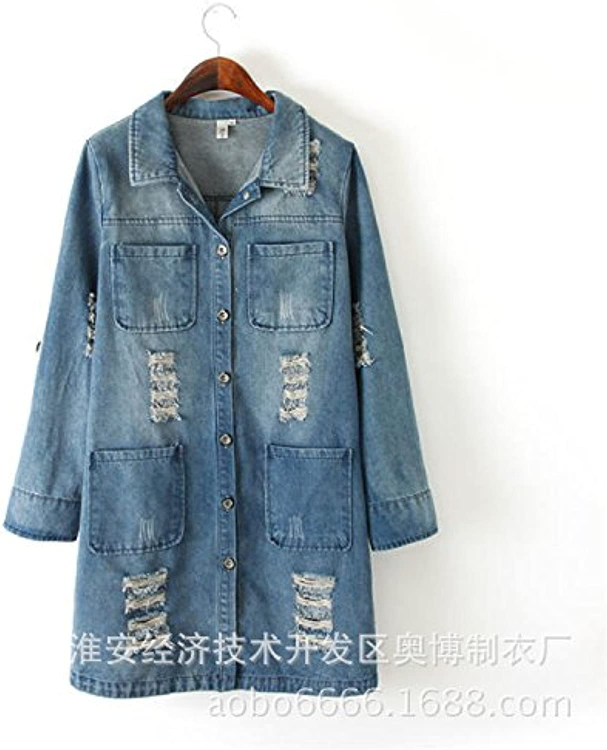 2016 explosions, autumn, long bifold wallets, Womens denim jacket, handmade, worn cotton College wind, denim coats, outerwear, relaxed, casual , picture color , m
