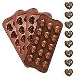 Duyuen 4Pcs Moldes para Bombones de Silicona,Moldes de Silicona para Caramelos Molde de Revestimiento Antiadherente Extraíble Truffle Mold Bandeja para Cubitos de Hielo,para Chocolate Caramelos