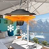 Electric Parasol/Umbrella Patio Heater, Hanging Ceiling Mounted Heater, Outdoor Space Heater, 1500 Watts Waterproof, for Pergola or Gazebo
