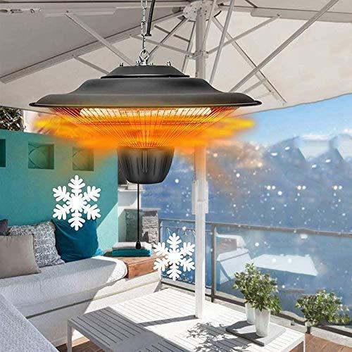 SFSGH Sombrilla eléctrica/Sombrilla Calentador de Patio, Calentador Colgante montado en el Techo, Calentador de Espacio al Aire Libre, 1500 vatios a Prueba de Agua, para pérgola o glorie