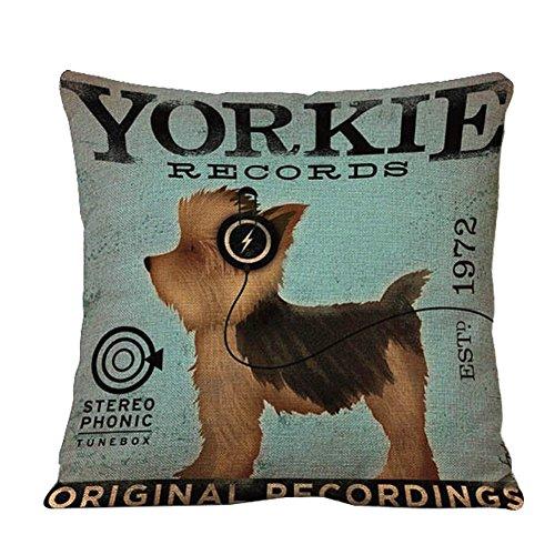 TREESTAR Taie d'oreiller en lin confortable avec motif de chien 44 x 44 cm pour intérieur et extérieur (Yorkie)