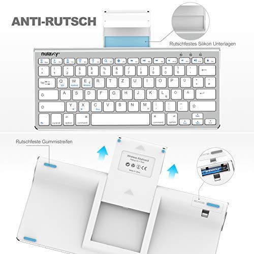 NULAXY KM13 Kabellose Tastatur mit Schiebeständer Bluetooth Tastatur mit QWERTZ Deutsches Layout Tablets Tastatur für iPad Samsung iOS Android Windows – Silber