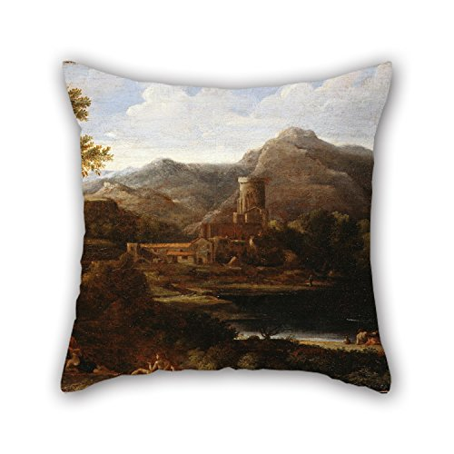 Artistdecor Oil Painting Dughet, Gaspard - Village Near A Lake Pillow Covers Best For Gf Bar Saloon Outdoor Coffee House Dining Room 18 X 18 Inches / 45 By 45 Cm(two Sides)