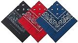 Pack 3 Pañuelos Bandanas de Paisley de Algodón para Cuello Pulsera Cabeza Unisex (negro+rojo+azul oscuro, Talla única)