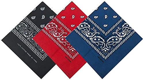 Pack 3 Pañuelos Bandanas Paisley de Algodón 55x55cm para Cuello o Cabeza Múltiuso Unisex (negro+rojo+azul oscuro, Talla única)