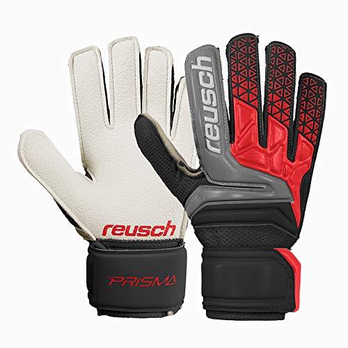 Reusch Prisma RG Easy Fit Junior Hartplatz Torwarthandschuhe Kinder Schwarz-Rot Black/Fire Red, 4