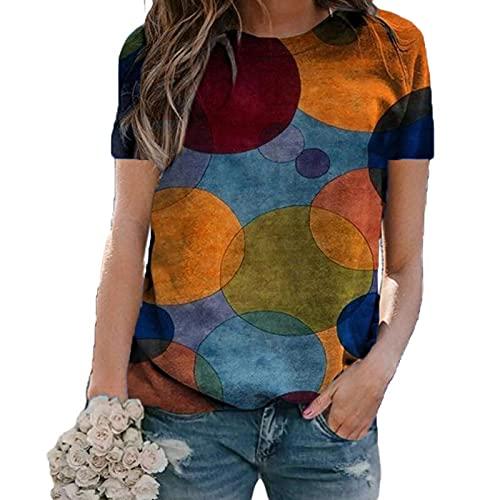 SLYZ Damen Sommer Große Lose Loose Wave Dot Print Pullover Rundhalsausschnitt Kurzarm T-Shirt Damenoberteil