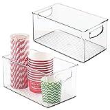 mDesign Plastic Organizer Bin w/Handles for Kitchen, Pantry Shelf Organization; Cabinet, Refrigerator, Freezer, Fridge, Food Storage for Fruit, Yogurt, Snacks, Dry Pasta - 6' Wide - 2 Pack - Clear
