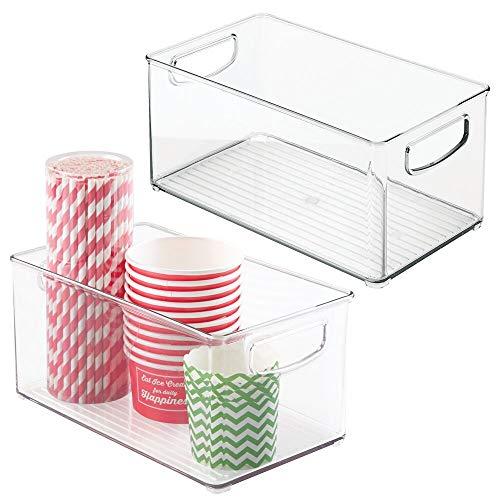 mDesign Juego de 2 cajas organizadoras con asas – Práctico organizador de frigorífico para almacenar alimentos – Contenedor de plástico sin BPA para mueble de cocina o nevera – transparente