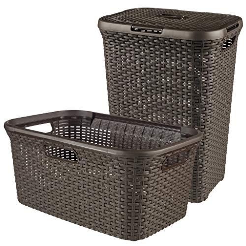 CURVER Style - Cesto para Colada (plástico, 1 x 60 L + 1 x 45 L), Color marrón Oscuro