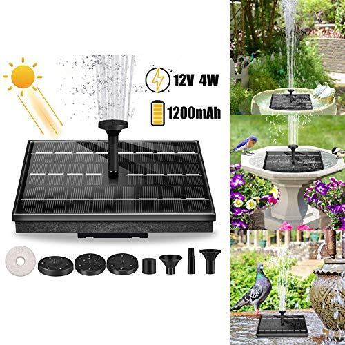 Bomba de fuente de baño solar para pájaros de 4 vatios,bomba agua con energía solar flotante portátil Fuente estanque solar con 6 boquillas para jardín de piscina de estanque para pájaros, 12000 mAh