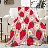 Strawberry Cartoon Blanket Throw Soft Lightweight Warm Cozy Flannel Fleece Women Adults and Kids Gifts for Couch Bed Sofa 50'x40' Small for Kid Leg pet