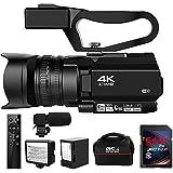 ビデオカメラ4KウルトラHD 48MPビデオカメラ(YouTube 30XデジタルズームIRナイトビジョンビデオカメラ、ポータブルハンドヘルドスタビライザー、360°ワイヤレスリモートコントロール64G SDカード付き)