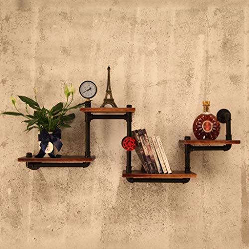 Asier Wandrek, metalen wandrek, hout, zwart, industriële buizenrek, boekenrek, rustiek modern houten ladder, magazijnrek, 4 niveaus, retro wandhouder, buisdesign, doe-het-zelf rekken, drijvende rekken