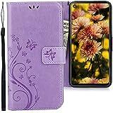 CLM-Tech Hülle kompatibel mit Samsung Galaxy A8s - Tasche aus Kunstleder - Klapphülle mit Ständer & Kartenfächern, Schmetterlinge lila