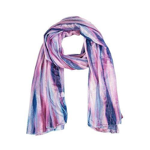 MANUMAR Schal für Damen | Hals-Tuch in weiß rosa mit Glitzer Farbverlauf Motiv als perfektes Herbst Winter Accessoire | Klassischer Damen-Schal | Stola | Mode-Schal | Geschenkidee Frauen