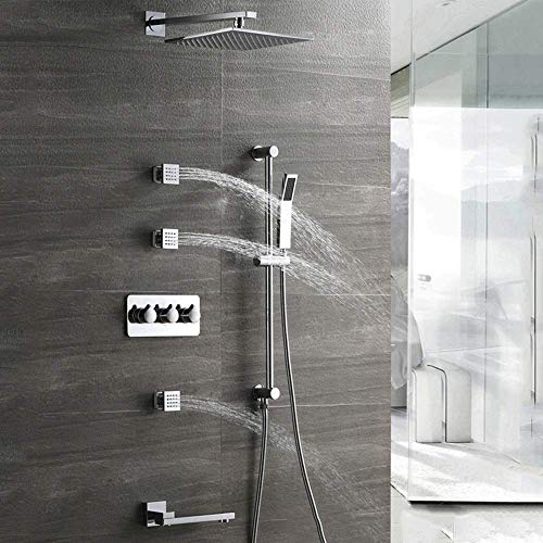 Tokyia Conjunto oculta Baño Ducha 4 Función caliente y frío de pared cuadrado de presión grande pulverización superior de elevación spray ducha de mano del sistema 3 Lado de la correa del grifo hermos