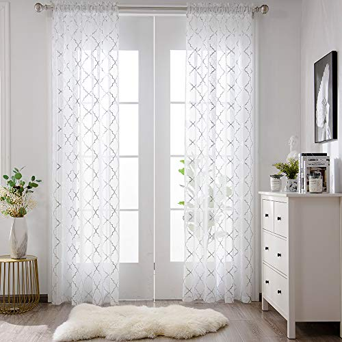 YJYANJUN White and Silver Sheer Curtains 84 inches Long Rod Pocket Moroccan Shiny Metallic Print Voile for Living Room 2 Panel W52 x L84 Inches