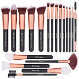 BS-MALL Face Mask Brush Face Cosmetic Brush for Foundation, Eye Shadow, Blush Concealer, professional cosmetic brush tool kit 19 Pcs Set (Rose)