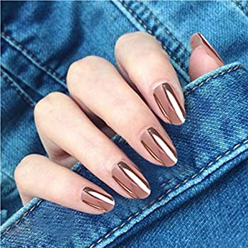Kakaco Long Oval Press on Nails Rose Pink Fake Nails Metallic Mirror Full Cover Acrylic False Nails for Women and Girls Pack of 24