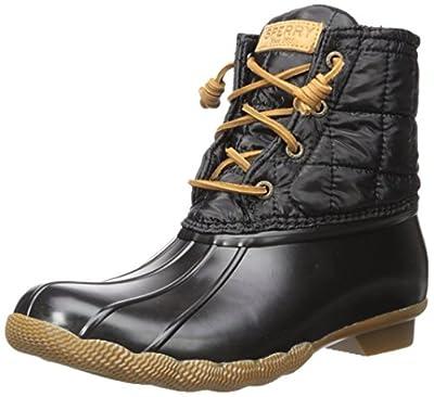 Sperry Women's Saltwater Rain Boot, Shiny Black, 8.5 Medium US