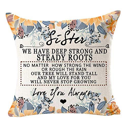 FETEAM Sister We Have Deep Strong and Steady Roots Arpillera de algodón Decorativa Funda de Almohada Cuadrada Funda de cojín para sofá Sala de Estar 18 Pulgadas ~ AQ5