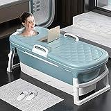 TTLIFE Vasca da bagno pieghevole per adulti Jacuzzi per bambini Vasca da bagno per uso domestico Vasca da bagno con doccia Vasca da bagno con copertura termostatica 54,3 pollici (BLU)