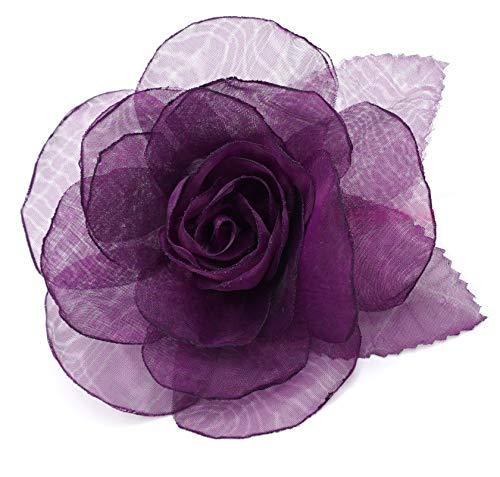 LIDA LYDI Organza-Blütenbrosche, lila Pflaumenfarbe.