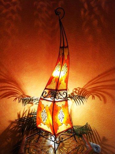 Orientalische Stehlampe Mira 100cm Lederlampe Hennalampe Lampe | Marokkanische Große Stehlampen aus Metall, Lampenschirm aus Leder | Orientalische Dekoration aus Marokko, Farbe Orange Rot