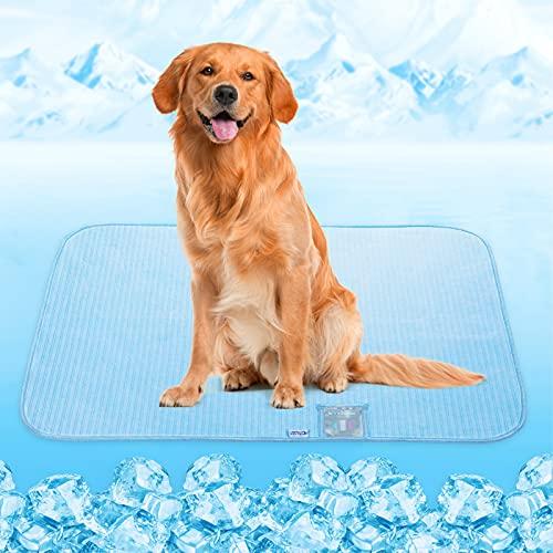 Tappetino Refrigerante per Cani Gatti, Rywell Tappetini Refrigeranti per Cani Gatti [Arc-chill Q-Max>0,3]Tappetini Assorbenti Antiodore Riutilizzabile per Cani Gatti in Estate, Blu(XL-80x110CM)