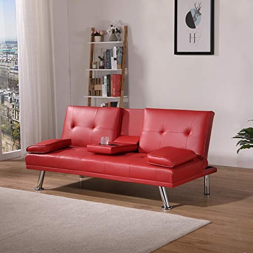 Shoze Faux Leather 3-seater Sofa Bed Sleeper Sofa Modern Design With Cushion Magazine Pocket Cup Holder Red