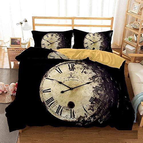 Bedclothes-Blanket Juego de sabanas Cama 90 Juveniles,Cama 3D Single Ropa de Cama Edredón Set Reloj de Tres piezas-210 * 210_9