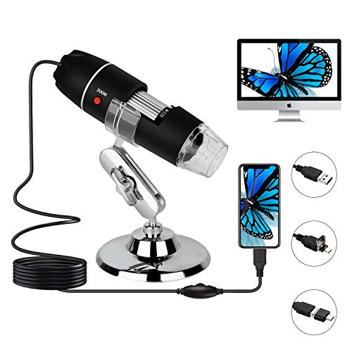 USB Digital Microscope, 40x to 1000x Magnification Microscope, 8 LED Handheld Magnification endoscopic Cameras, with OTG Adapter and Metal Bracket, Compatible with Mac, Android,Window 7 8 10