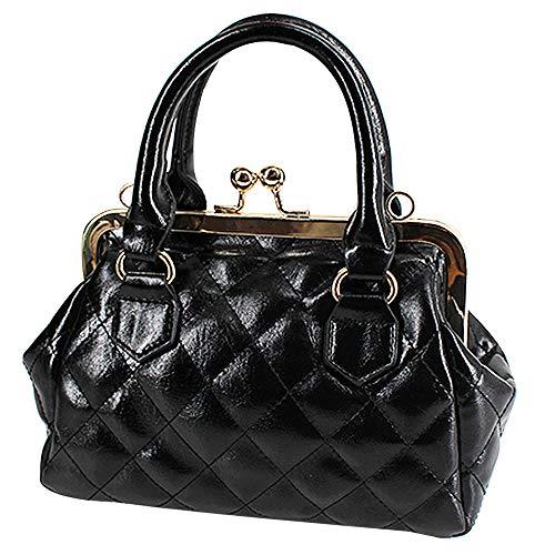 Mega Damen Geometrische Mode-Handtasche Charme Abendtasche Gitter Clutch Mini Umhängetasche Karo Henkeltasche Crossbody Bag aus PU Leder mit Kisslock (Schwarz)