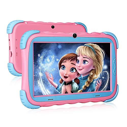 Kinder Tablet, 7 Zoll Tablet für Kinder, 7'' HD IPS Display, 2GB + 16 GB,WLAN, Kamera, Kindersicher Hülle, Rosa